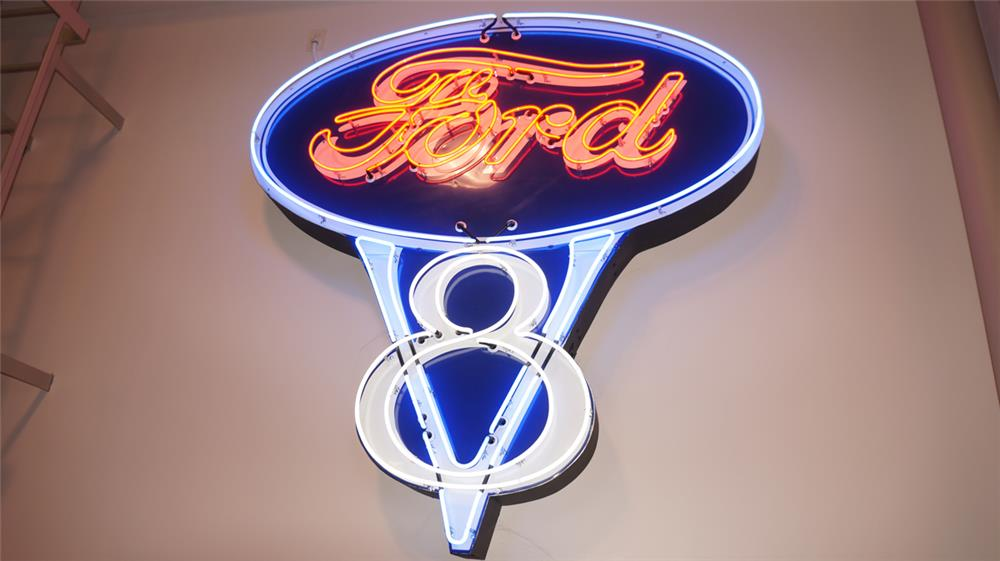 Impressive 1930's Ford V-8 single-sided neon porcelain dealership sign. - Front 3/4 - 178797