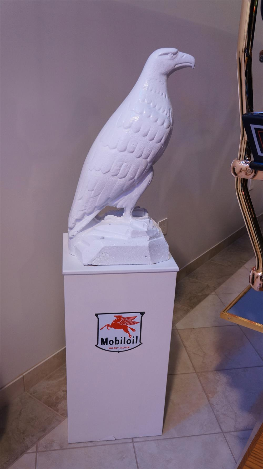 "Amazing 1920's White Eagle ""Mobil"" cast iron filling station three-dimensional statue on custom display stand with original porcelain Mobiloil sign. - Front 3/4 - 178801"