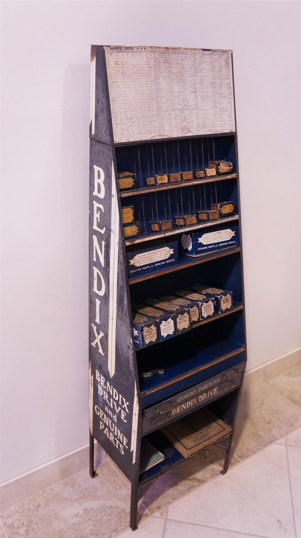 Large 1930's-40's  Bendix Genuine Automotive Parts service department metal display cabinet filled with original product. - Front 3/4 - 178802