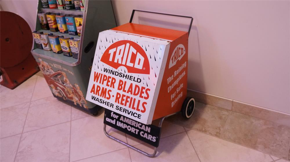 Nifty vintage Trico Wiper Blade Service filling station fuel island display cabinet on wheels. - Front 3/4 - 178803