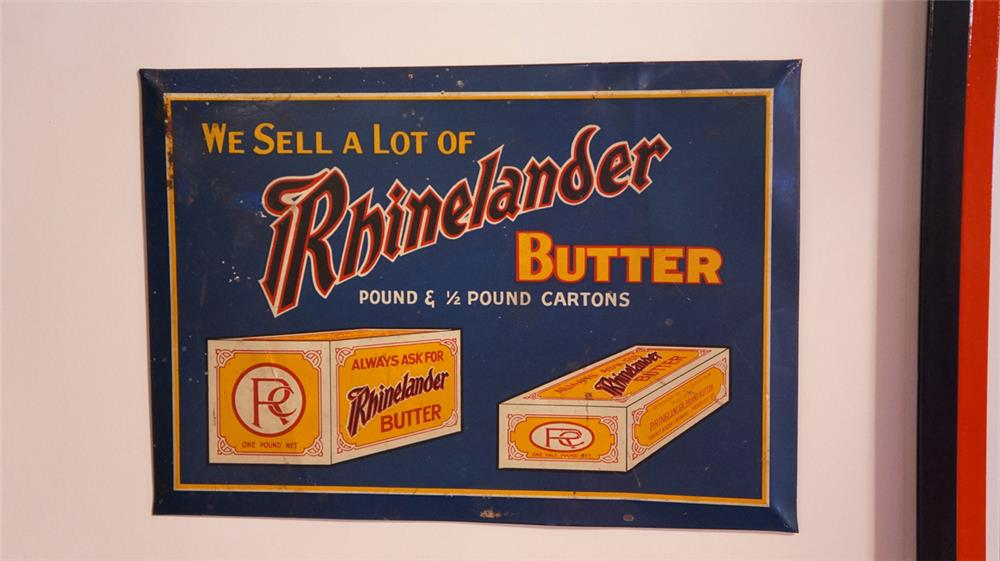 "1930's Rhineland Butter tin litho general store sign with easel back. Condition: Very Good+  Size 13'x10"" - Front 3/4 - 178817"