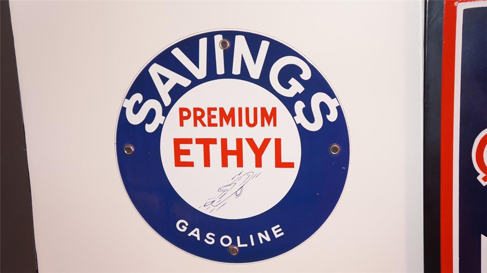 Rare Savings Premium Ethyl porcelain pump plate sign with 1950's jet logo. - Front 3/4 - 178819