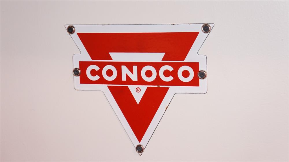 N.O.S. 1950's Conoco Gasoline single-sided porcelain pump plate sign. - Front 3/4 - 178827