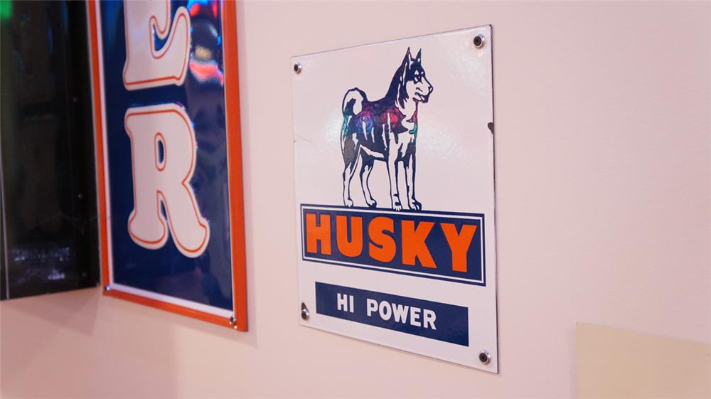 Choice 1950's Husky Hi Power Gasoline single-sided porcelain pump plate sign with Husky logo. - Front 3/4 - 178830