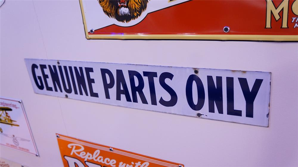 "Interesting Ford ""Genuine Parts Only"" double-sided porcelain dealership sign. - Front 3/4 - 178834"