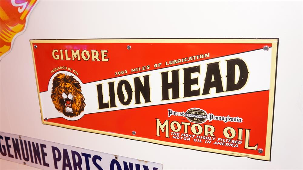 Gilmore Lion Head Motor Oil single-sided tin service station sign. - Front 3/4 - 178835