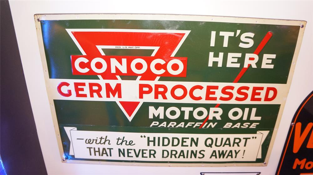 Large 1930 39 S Conoco Germ Processed Motor Oil Wood Framed