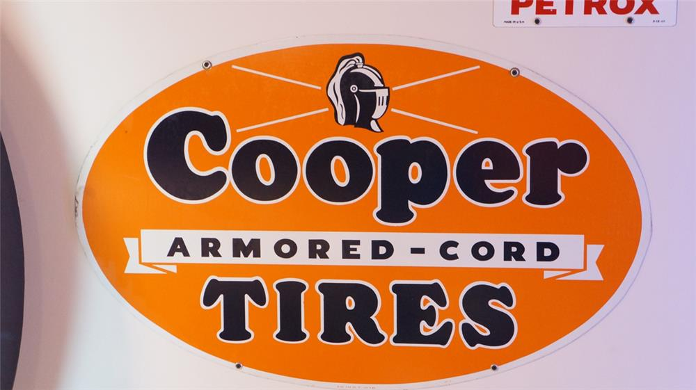 Wonderful circa 1940's-50's Cooper Armored Cord Tires double-sided tin automotive garage sign. - Front 3/4 - 178858