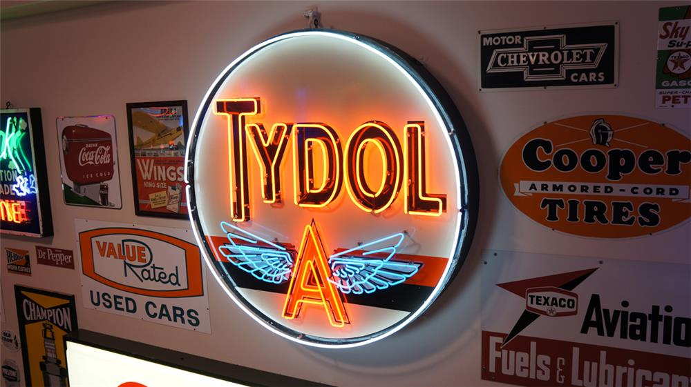 Large Tydol Gasoline single-sided porcelain with animated neon service station sign. - Front 3/4 - 178860