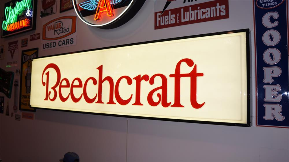 Large Beechcraft Airplanes single-sided light-up airport hanger sign. - Front 3/4 - 178861