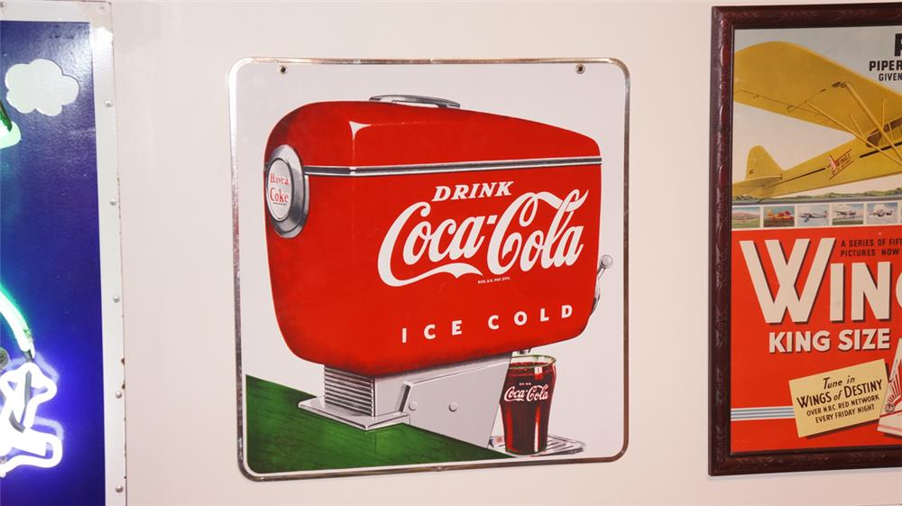 Choice N.O.S. 1950's Drink Coca-Cola porcelain diner sign with soda fountain dispenser graphic. - Front 3/4 - 178863