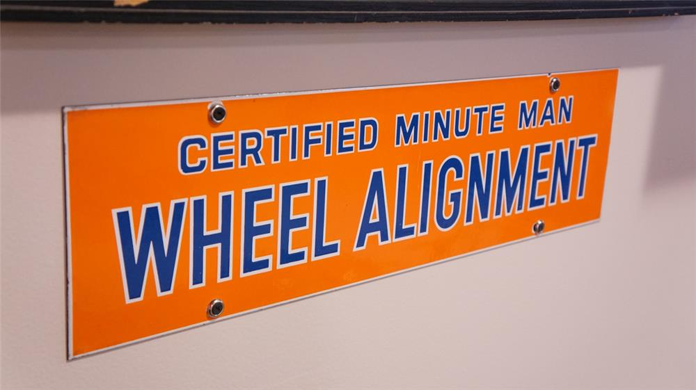 "N.O.S. late 1950's Union 76 Certified Minute Man ""Wheel Alignment"" single-sided porcelain service station sign. - Front 3/4 - 178866"