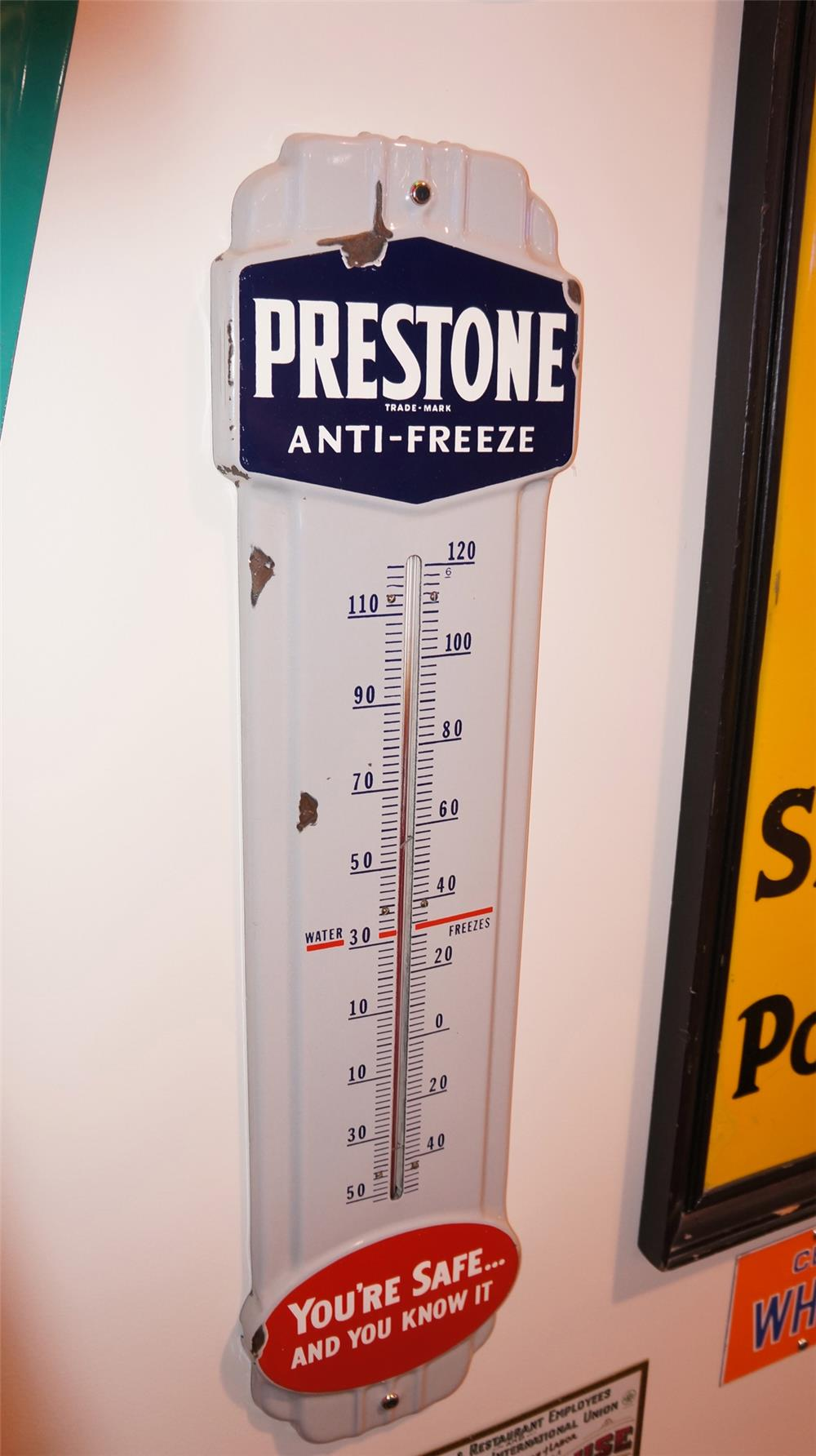 Choice 1940's Prestone Anti-Freeze porcelain service station thermometer. - Front 3/4 - 178872