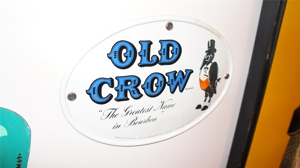 Very nice 1950's Old Crow Bourbon single-sided die-cut tin sign with nice graphics. - Front 3/4 - 178874