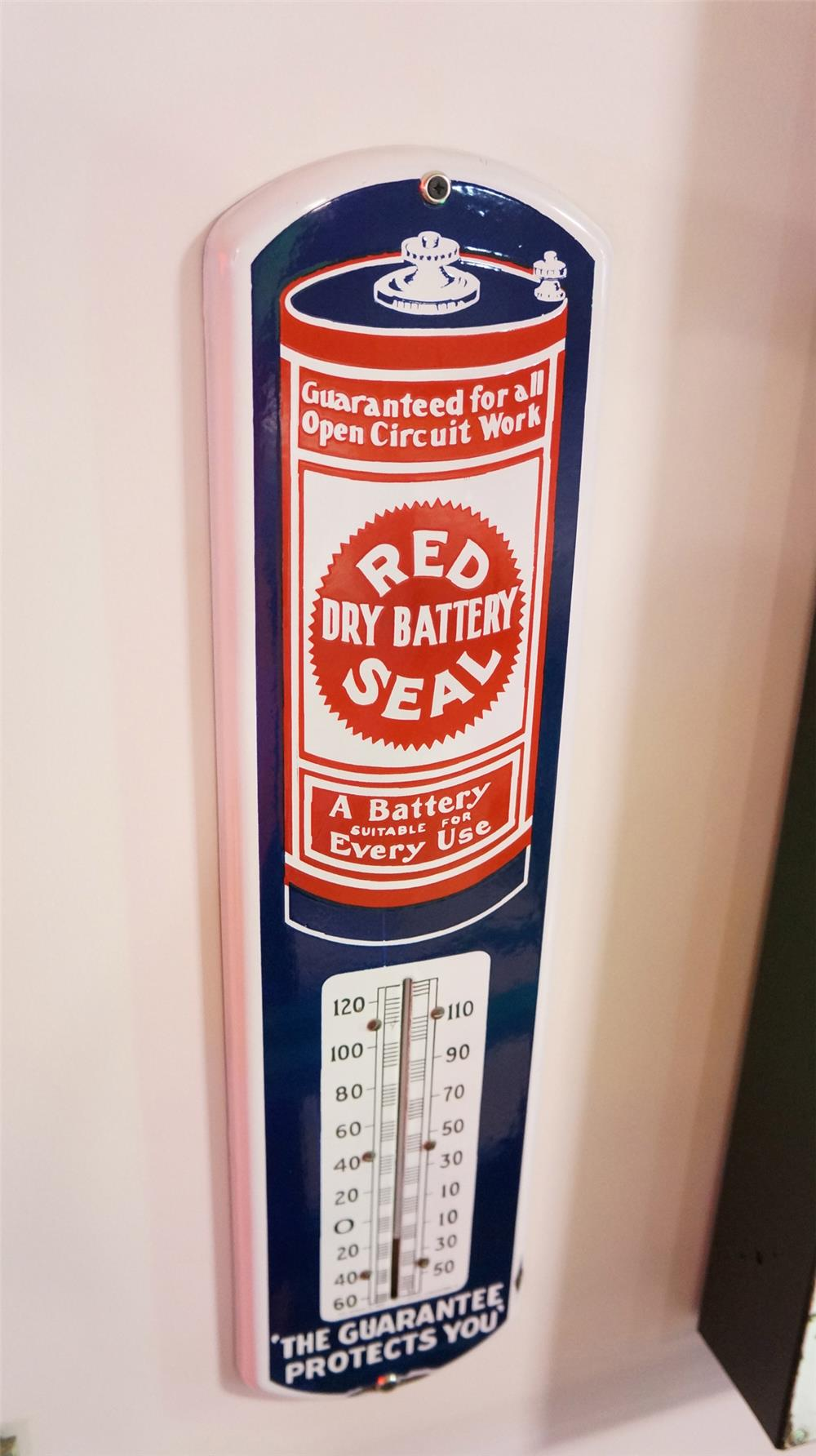 Choice 1915 Red Seal Dry Cell Battery singe-sided porcelain automotive garage sign. - Front 3/4 - 178878