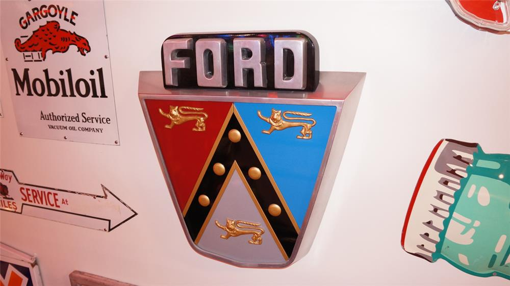 Exceptional 1953 Ford Jubilee three dimensional showroom sales cast aluminum/wood sign. - Front 3/4 - 178881
