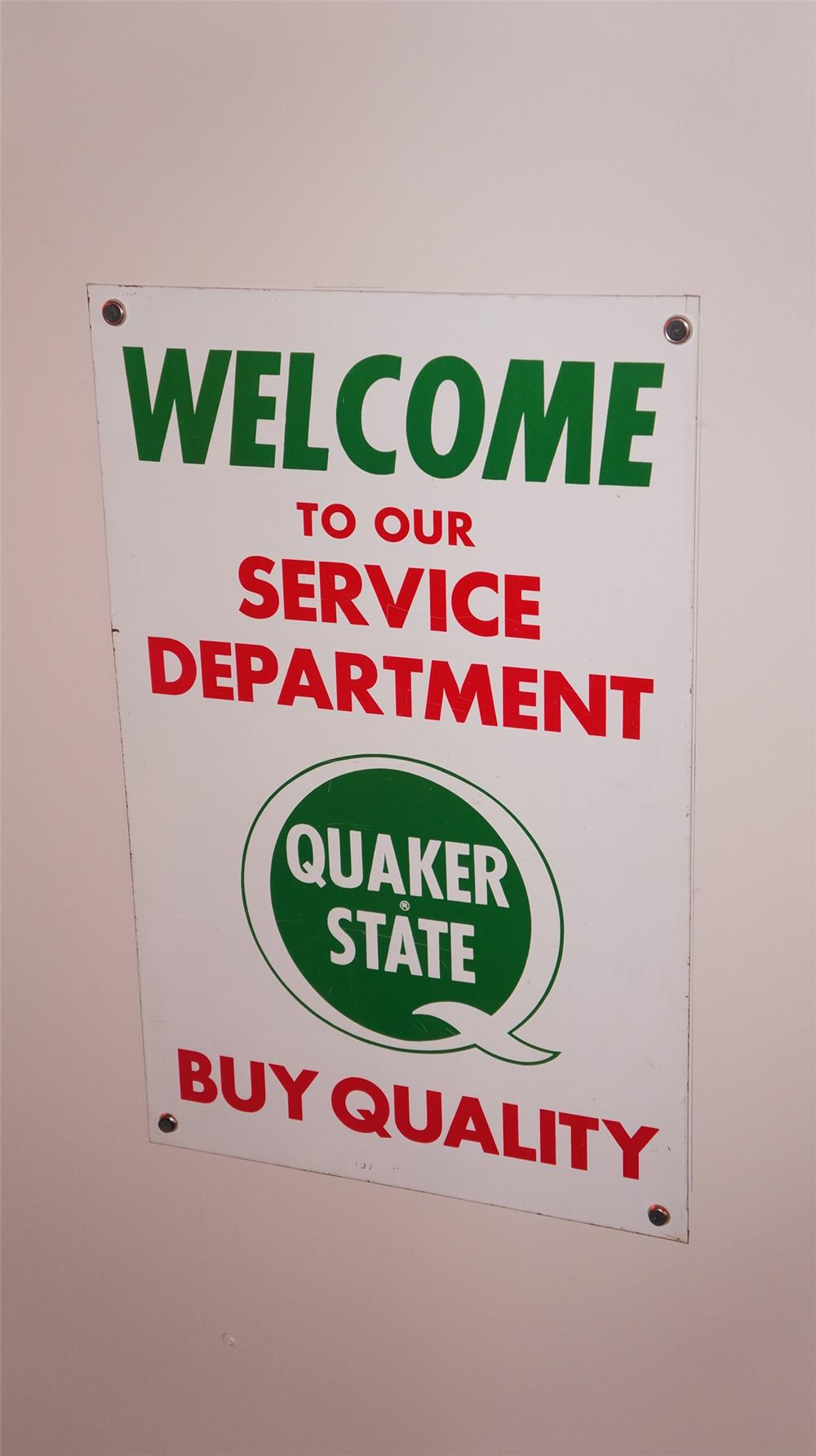 """N.O.S. Quaker State Motor Oil """"Welcome to our Service Department"""" single-sided tin sign. - Front 3/4 - 178883"""