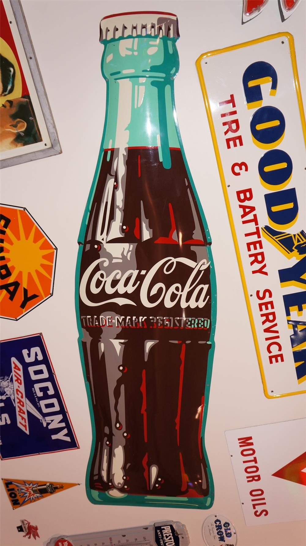 Impressive N.O.S. 1950's 9' Coca-Cola die-cut tin bottle shaped sign. - Front 3/4 - 178886