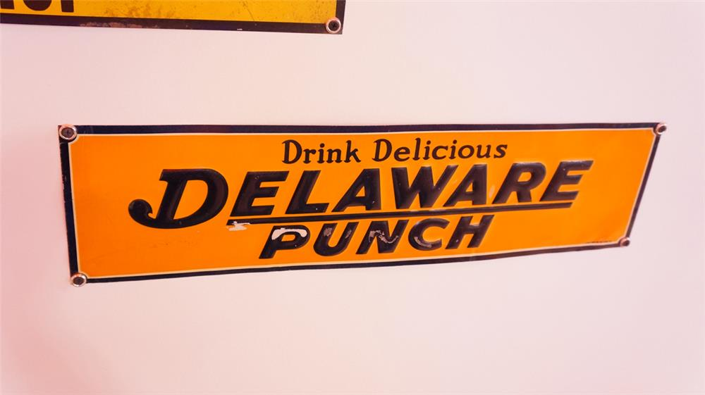 N.O.S. late 1920's Delaware Punch Soda single-sided embossed tin sign. - Front 3/4 - 178894