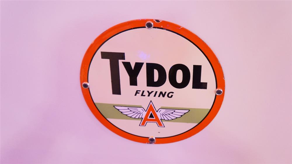 Sharp 1940's Tydol Flying A single-sided porcelain pump plate sign. - Front 3/4 - 178895