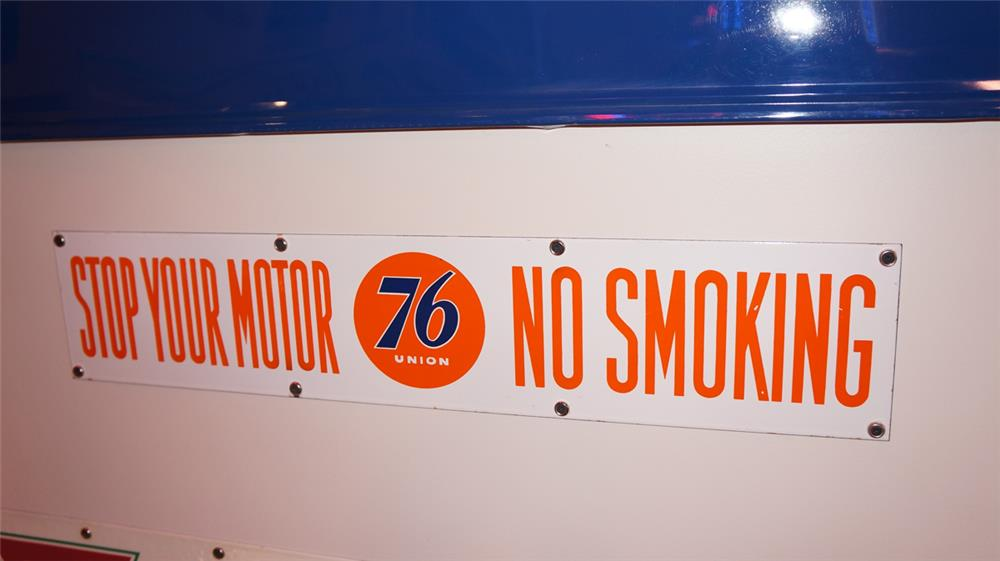 N.O.S. 1940's-50's Union 76 Service Station Stop Your Motor - No Smoking double-sided porcelain fuel island sign. - Front 3/4 - 178899