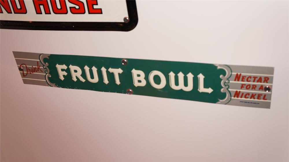 N.O.S. 1930's-40's Fruit Bowl Soda single-sided tin general store sign. - Front 3/4 - 178904