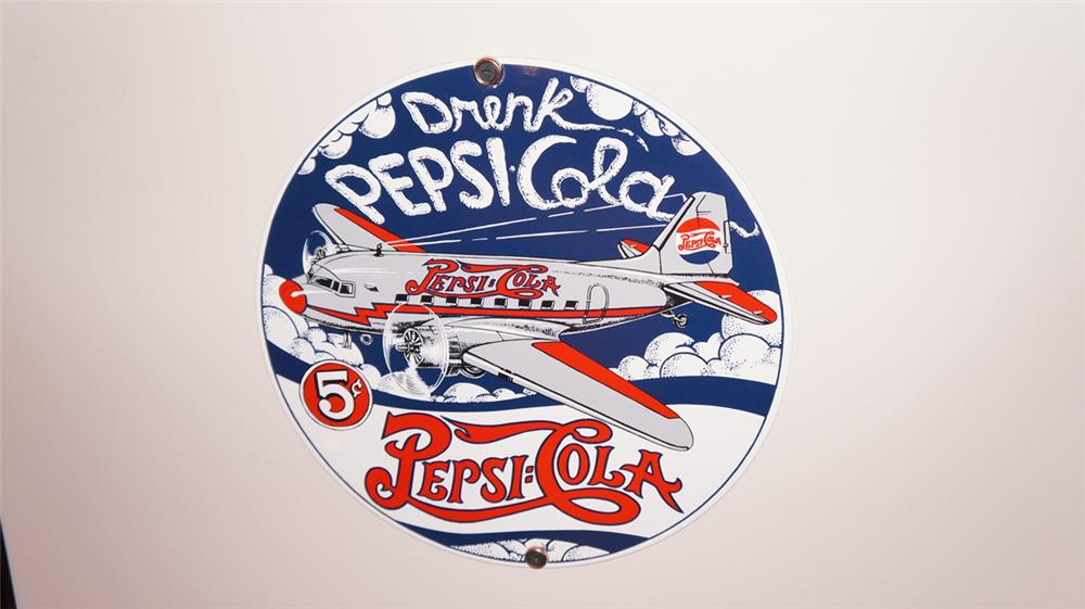 Reproduction Drink Pepsi-Cola single-sided porcelain sign with airplane graphics. - Front 3/4 - 178905