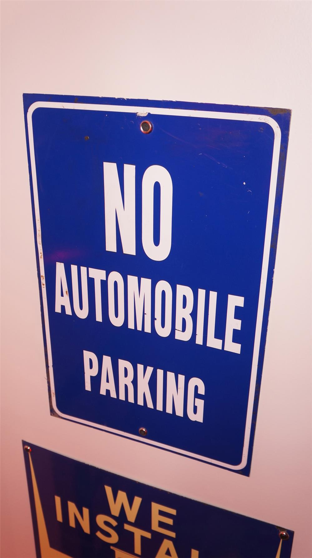 No Automobile Parking single-sided tin sign. - Front 3/4 - 178910
