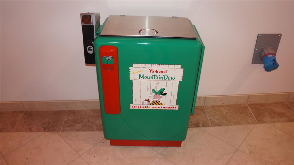 All original 1950's Mountain Dew ten cent slider soda machine. - Front 3/4 - 178912