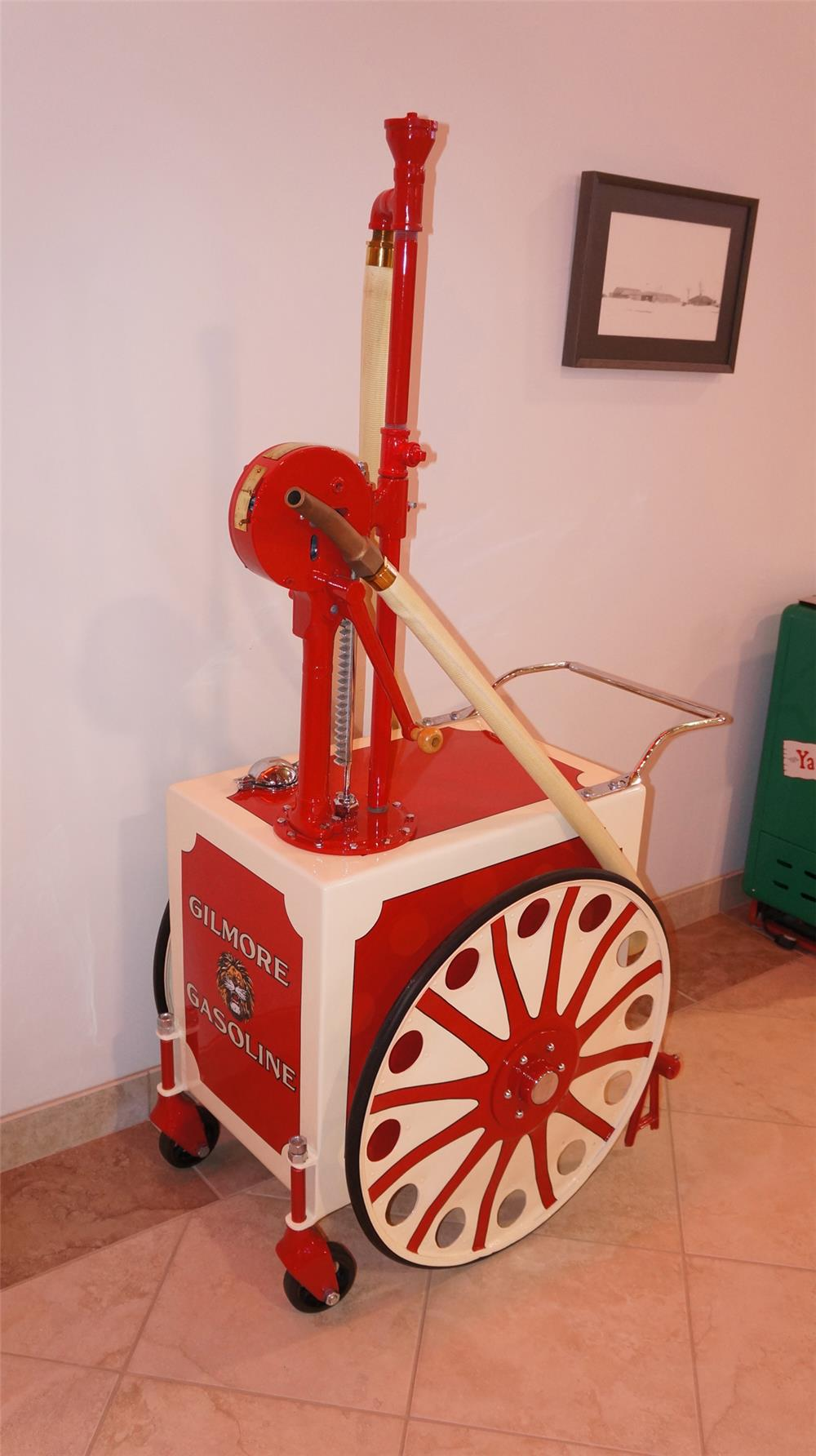 Beautifully restored 1920's Gilmore Gasoline filling station gas cart. - Front 3/4 - 178914
