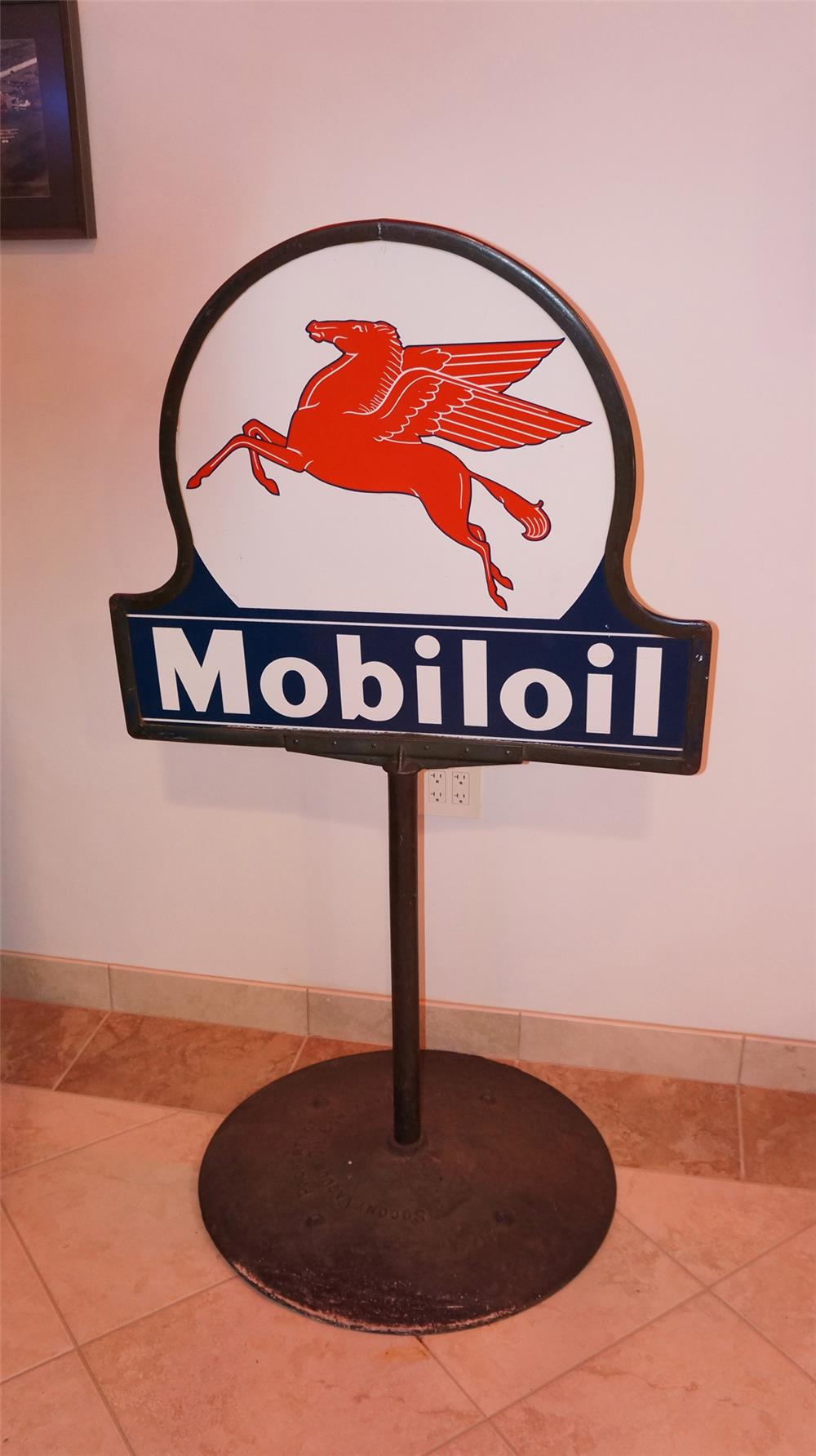 1940's Mobil Oil double-sided porcelain curb sign with Pegasus logo. - Front 3/4 - 178915