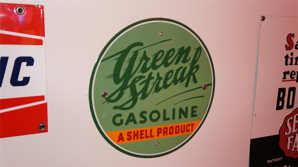 "Hard to find 1930's Green Streak Gasoline ""A Shell Product"" single-sided porcelain pump plate sign. - Front 3/4 - 178920"