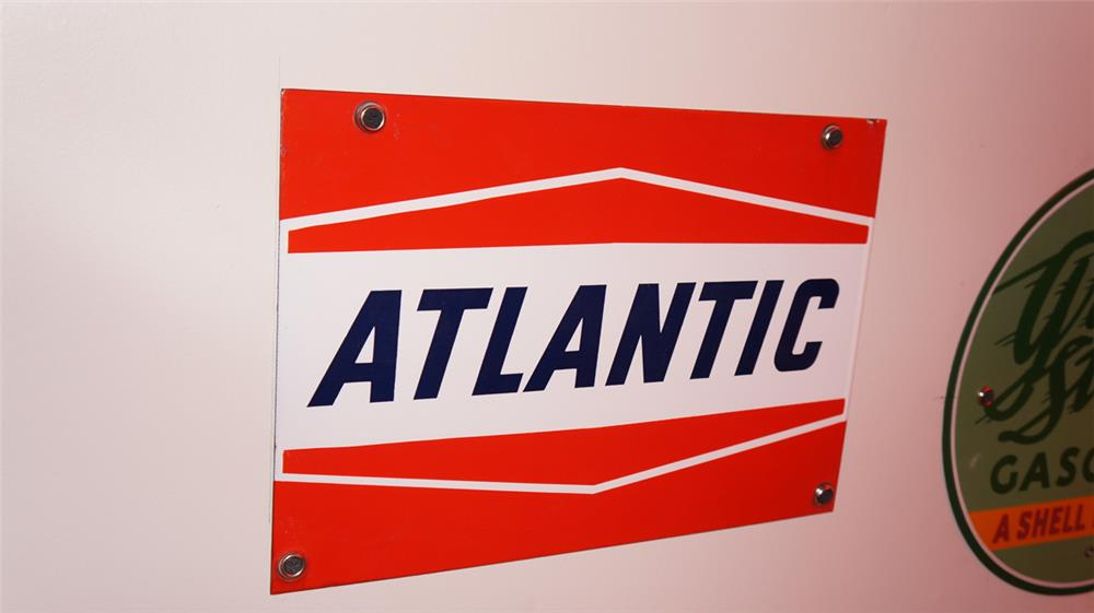 Very clean 1950's Atlantic Gasoline single-sided porcelain pump plate sign. - Front 3/4 - 178921