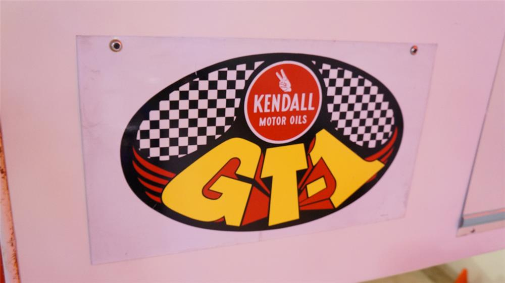 Groovy 1960's Kendall GT-1 Motor Oil double-sided tin automotive garage sign. - Front 3/4 - 178925