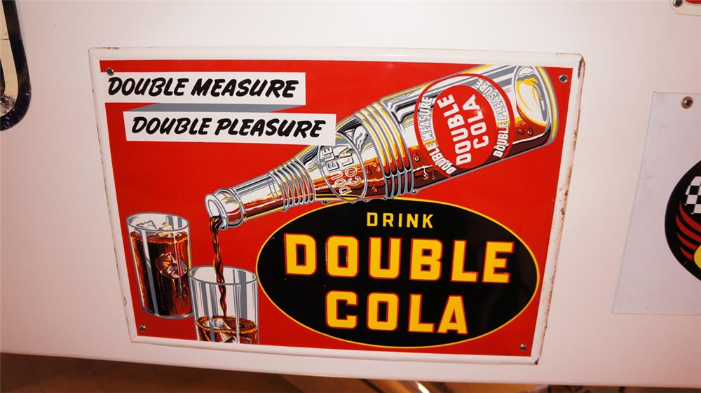 Wonderful N.O.S. 1938 Drink Double-Cola tin sign with bottle pouring graphic. - Front 3/4 - 178927