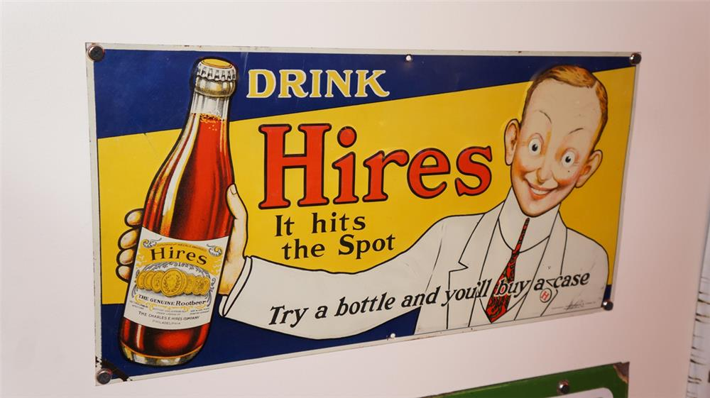 Museum worthy 1919 Hires Root Beer tin sign with outstanding graphics. - Front 3/4 - 178937