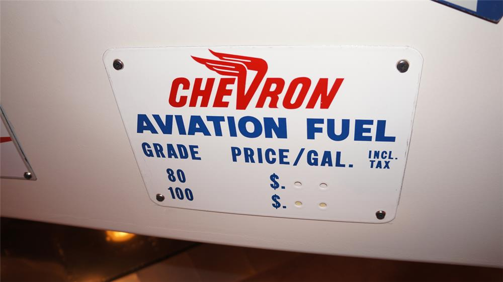 Interesting 1940's-50's Chevron Aviation Fuels airport hanger price sign. - Front 3/4 - 178941