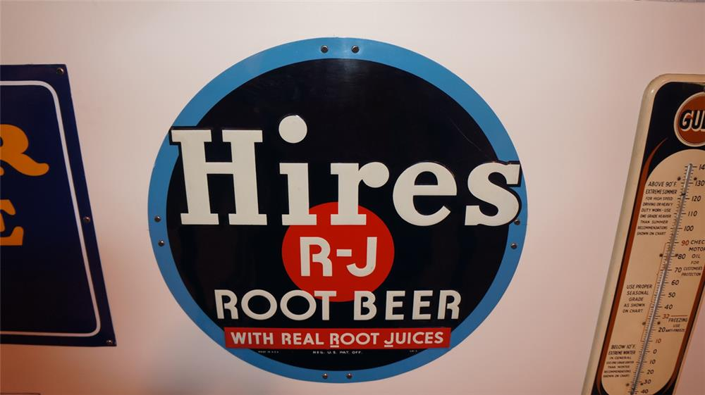 N.O.S. 1930's Hires R-J Root Beer single-sided embossed tin sign. - Front 3/4 - 178947