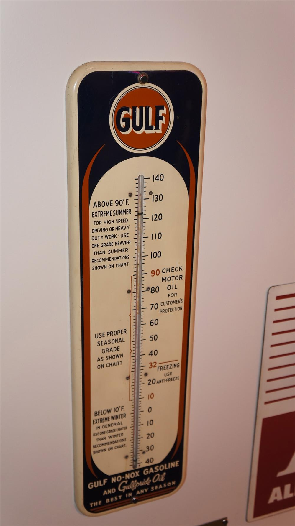 Fantastic 1930's Gulf Oil tin painted service station thermometer. - Front 3/4 - 178949