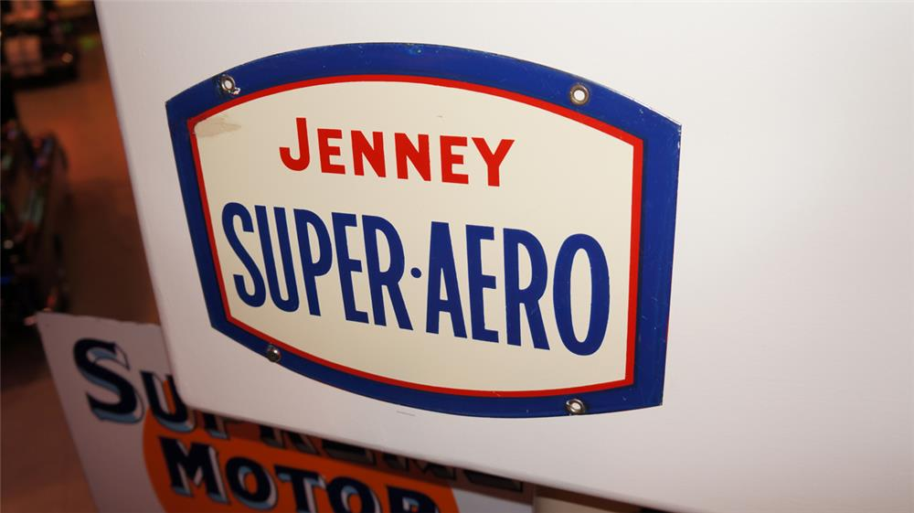 Highly desirable Jenney Super Aero single-sided porcelain aviation fuel sign. - Front 3/4 - 178951