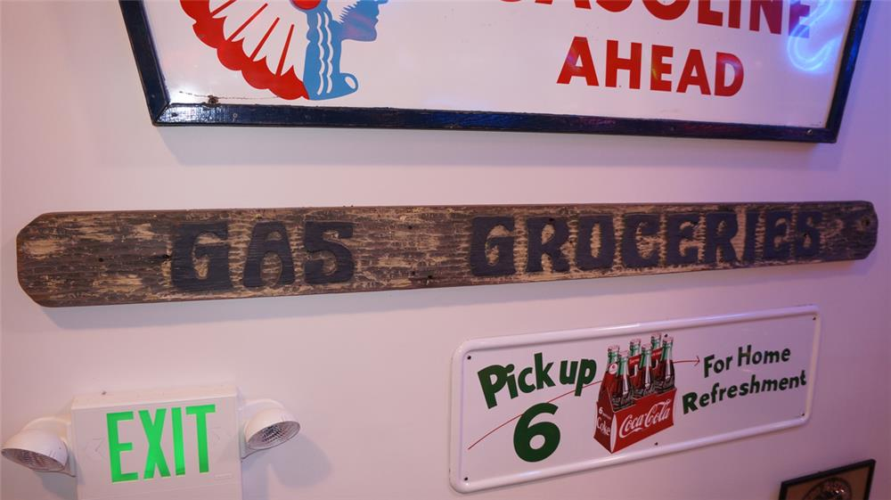 Large Gas-Groceries single-sided wood vintage general store sign. - Front 3/4 - 178955