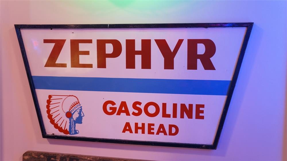 Sharp large 1950's Zephyr Gasoline Ahead single-sided tin wood framed service station sign with Chieftain head logo. - Front 3/4 - 178956