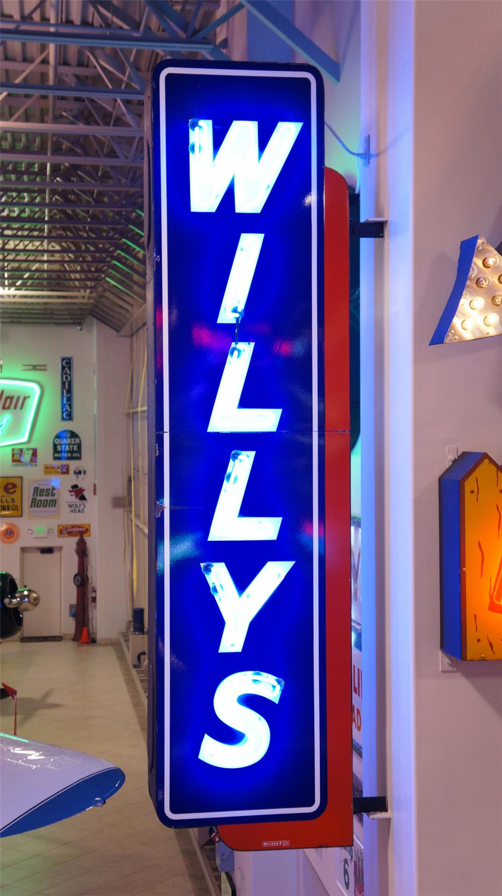 Impressive 1940's Willys Automobiles double-sided neon porcelain dealership sign.  Very clean! - Front 3/4 - 178959