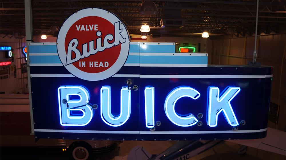 Very clean 1940's-50's Buick automobiles double-sided neon porcelain dealership sign. - Front 3/4 - 178961