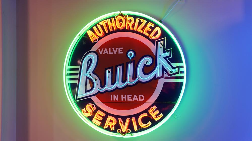 Stunning large 1940's Buick Authorized Service two-piece neon porcelain dealership sign. - Front 3/4 - 178962