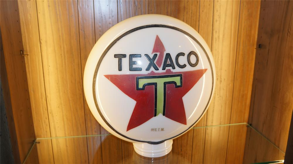Superb 1920's Texaco one piece milk glass baked gas pump globe. - Front 3/4 - 178981