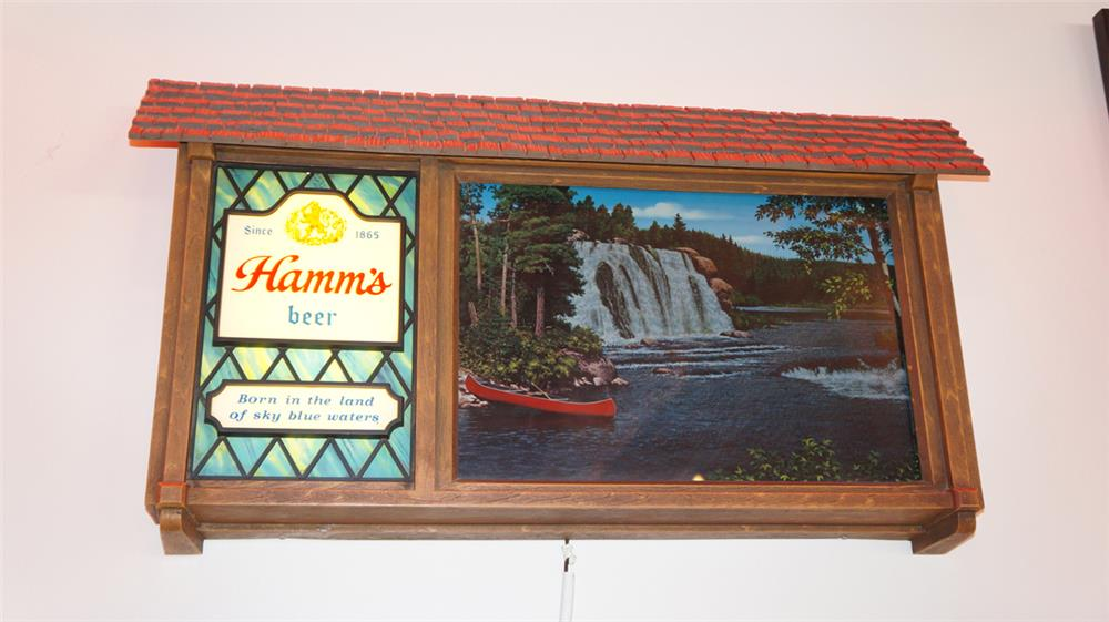 Nifty vintage Hamm's Beer scene-o-rama light-up tavern sign with scrolling outdoor scenes. - Front 3/4 - 178995