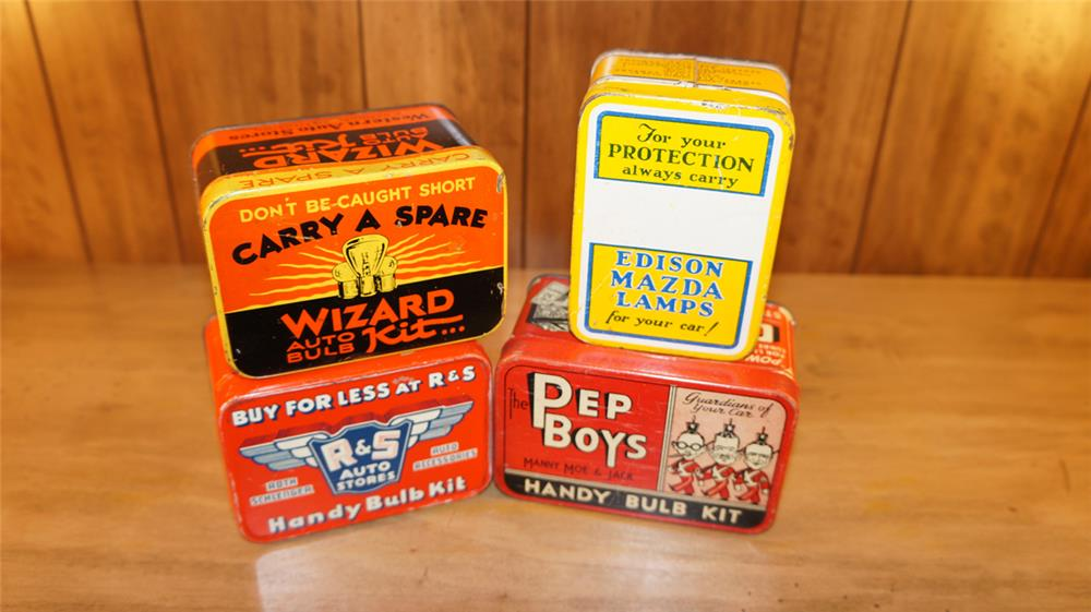Lot of four 1930's Auto light bulb kits from Wizard, Pep Boys, Mazda, and Wizard. - Front 3/4 - 178997
