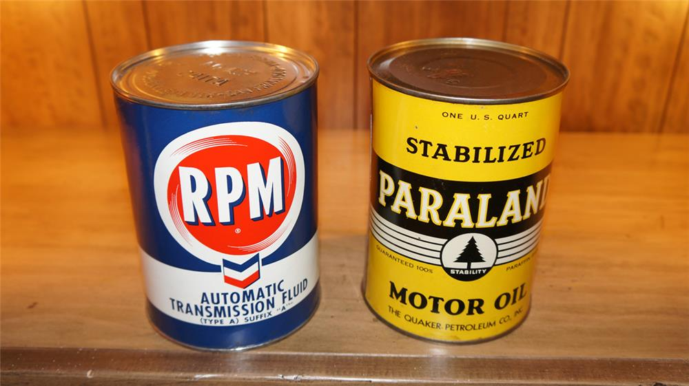 Lot of two full quart 1940's-50's cans of Paraland Oil and RPM Transmission Fluid. - Front 3/4 - 178999