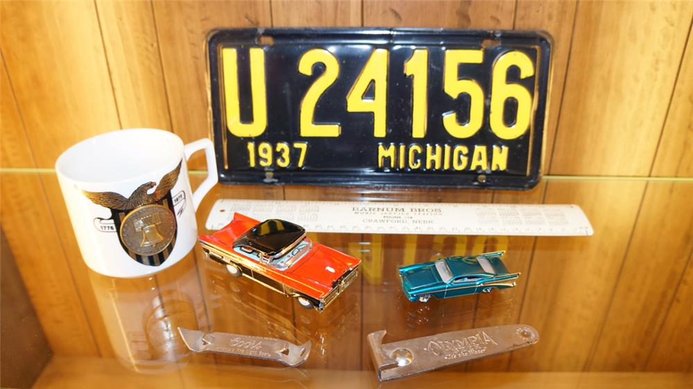 Lot of assorted automotive related collectibles including a 1937 Michigan license plate. - Front 3/4 - 179002